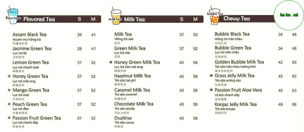 menu trà sữa Koi